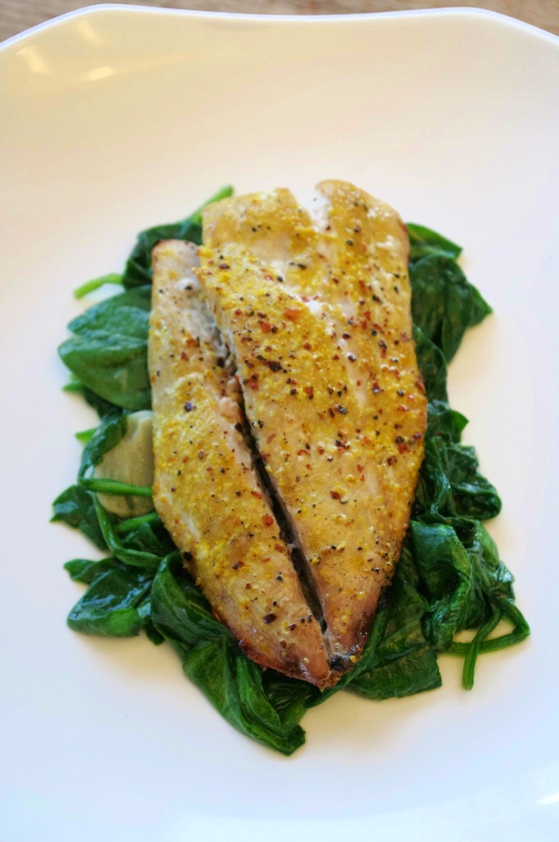 Lemon Peppered Yellowtail with Sauteed Spinach